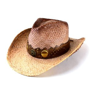 帽子 メンズ 麦わら帽子 レディース ヘンシェル レザー巻き スタッズアクセ ストローカウボーイハット ラフィア テンガロンハット|elehelm-hatstore