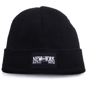 NEW YORK HAT 帽子 メンズ ニューヨークハット ニットワッチ ロゴキャップ ペアルック レディース/ブラック