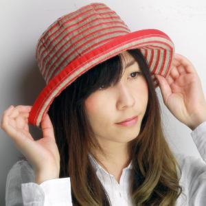帽子 ハット レディース 春夏 麻 ブレード ボーダー柄 ロベルトイデア インポート レッド系|elehelm-hatstore