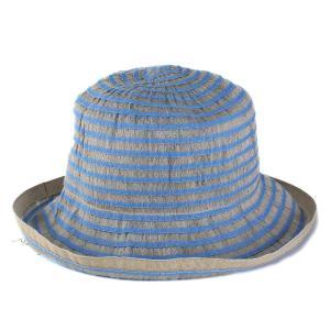 帽子 ハット レディース 春夏 麻 ブレード ボーダー柄 ロベルトイデア インポート ブルー系|elehelm-hatstore