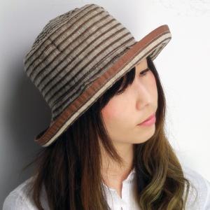 帽子 ハット レディース 春夏 麻 ブレード ボーダー柄 ロベルトイデア インポート ブラウン系|elehelm-hatstore