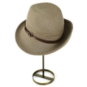 帽子 ハット レディース 中折れハット アシンメトリー フェルト素材 ハット お洒落なデザイン キャメルミックス|elehelm-hatstore