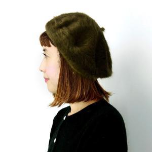 ベレー 帽 レディース コーデ 帽子 アンゴラ ファー ベレー帽 カーキ|elehelm-hatstore