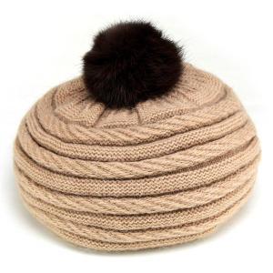 ベレー レディース ポンポン 取り外し可能 帽子 ベレー帽 ニット 秋冬 ふわっふわ ファー 丸いフォルム 2WAY ベージュ|elehelm-hatstore
