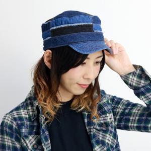 ワークキャップ レディース デニム リバーシブル キャップ パッチワーク 帽子 8オンス 6オンス ヒッコリー メンズ マルチ ネイビー 紺|elehelm-hatstore