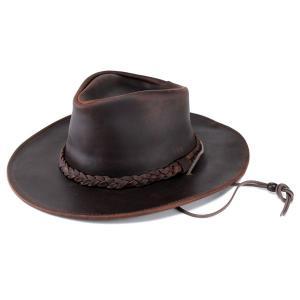 ハット メンズ カウボーイハット 本革 レザー 1154-23 帽子 メンズ レディース 乗馬帽子 ウエスタンハット ブラウン|elehelm-hatstore