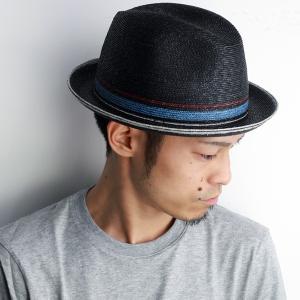 ストローハット メンズ 麦わら帽子 ハット お洒落デザイン 中折れ ブラック|elehelm-hatstore