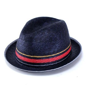 ストローハット メンズ 麦わら帽子 テシ 中折れ ネイビー|elehelm-hatstore