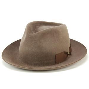 帽子 ハット メンズ テシ イタリア ラビットファー フェルト 中折れ帽 トレンド 高級 中茶 ライトブラウン|elehelm-hatstore