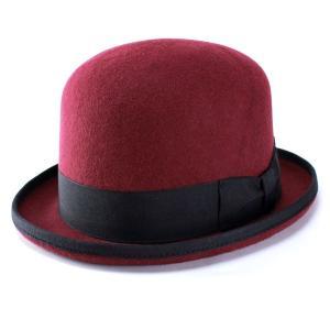 帽子 ハット メンズ レディース ボーラーハット FUJI HAT ダービーハット 秋冬 エンジ|elehelm-hatstore