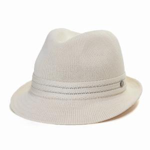 ハット ボルサリーノ ニット素材 きれいなシルエットでかっこよく 中折れハット 春夏 オフホワイト elehelm-hatstore