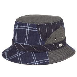 バケットハット 夏の帽子 ボルサリーノ メンズ カメラマンハット パッチワーク 麻 毛 サファリ アウトドア ハット borsalino 紺 ネイビー|elehelm-hatstore