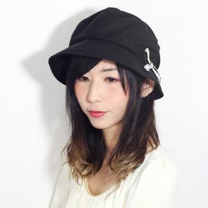 UVカット 春 夏 帽子 レディース 8方キャスケット リボン 紫外線対策 日よけ しわ加工 コットン キャスケット 婦人 シンプル 無地 日本製 黒 ブラック|elehelm-hatstore