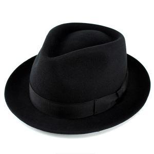 帽子 ハット メンズ レディース 中折れハット ウール フェルト フェルトハット 中折れ帽子 ブラッ...