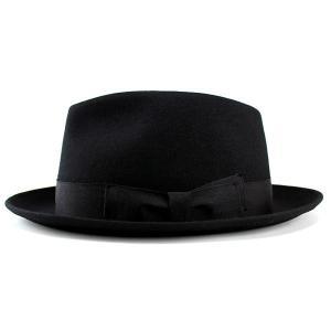 帽子 ハット メンズ レディース 中折れハット ウール フェルト ブラック|elehelm-hatstore|02