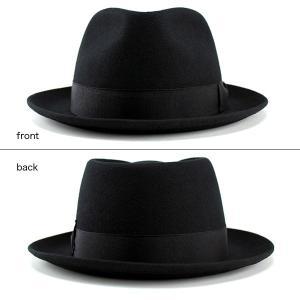 帽子 ハット メンズ レディース 中折れハット ウール フェルト ブラック|elehelm-hatstore|03