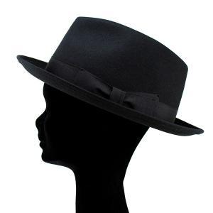 帽子 ハット メンズ レディース 中折れハット ウール フェルト ブラック|elehelm-hatstore|04