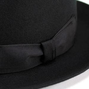 帽子 ハット メンズ レディース 中折れハット ウール フェルト ブラック|elehelm-hatstore|05