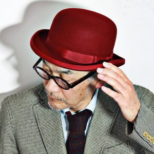 CHRISTYS' LONDON 帽子 ボーラーハット クリスティーズロンドン ダービーハット フェルトハット メンズ レディース 秋冬 レッド 赤|elehelm-hatstore