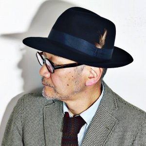 クリスティーズ ハット ワイドブリム CHRISTYS' LONDON Grosvenor Fedora 秋冬 トラッド ネイビー|elehelm-hatstore