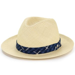 パナマ 帽子 メンズ ダックス パナマハット daks 春夏 トキヤ草 チェック 高級 紳士 レマン型 中折れ帽 ナチュラル リボン 紺 ネイビー|elehelm-hatstore