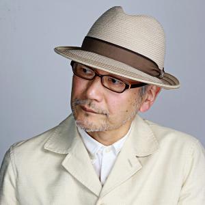 ダックス 中折れ ハット 帽子 メンズ DAKS 中折れ帽 ライン入り シルク 細番手 ブレード サイズ調節 春夏 日本製 ナチュラル|elehelm-hatstore