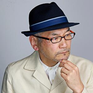 DAKS 中折れ帽 ライン入り シルク 細番手 ブレード 中折れ ハット 帽子 メンズ ダックス サイズ調節 春夏 日本製 ネイビー 紺|elehelm-hatstore