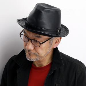 DAKS ソフト ラムレザー レマン型 中折 帽子 ラム レザー 100% 中折れ帽 羊革 メンズ サイズ調節 ダックス 中折れハット 秋冬 日本製 ブラック 黒|elehelm-hatstore