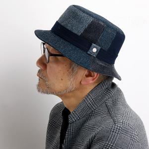 秋冬 DAKS ハット 紳士 コーデュロイ パッチワーク ツイード 帽子 メンズ サファリ ダックス 日本製 ネイビー 紺|elehelm-hatstore