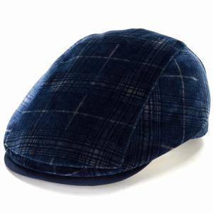ダックス Pontoglio Belvet  チェック ベルベット ハンチング DAKS エクセーヌ ヴィエラ 帽子 メンズ サイズ調節 秋冬 日本製 紺 ネイビー|elehelm-hatstore