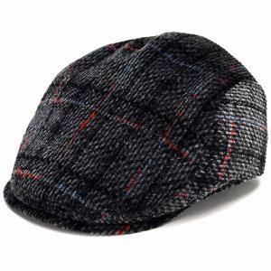DAKS チェック コーデュロイ ハンチング 帽子 メンズ サイズ調節 ダックス Pontoglio Corduroy 秋冬 日本製 黒 ブラック|elehelm-hatstore
