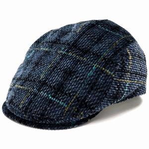 ハンチング DAKS チェック コーデュロイ 帽子 メンズ サイズ調節 ダックス Pontoglio Corduroy 秋冬 日本製 紺 ネイビー|elehelm-hatstore