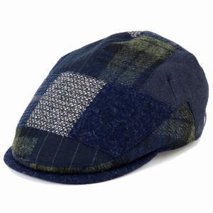DAKS パッチワーク ハンチング 帽子 メンズ ダックス サイズ調節 秋冬 日本製 紺 ネイビー|elehelm-hatstore