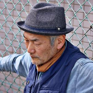 メンズ 帽子 DAKS ハット グレンチェック ダックス 中折ハット 紳士 ニューレスコー 日本製 秋冬 紺 ネイビー elehelm-hatstore