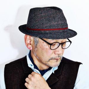 DAKS ハット 紳士 ニューレスコー グレンチェック ダックス メンズ 帽子 中折ハット 日本製 秋冬 チャコールグレー elehelm-hatstore