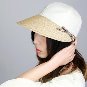 DAKS ジョッキー 帽子 日よけ 春夏 UV レディース 上品 紫外線対策 麻 シャンブレー キャップ 後ろゴム入り ダックス ツバ広 ベージュ ナチュラル|elehelm-hatstore