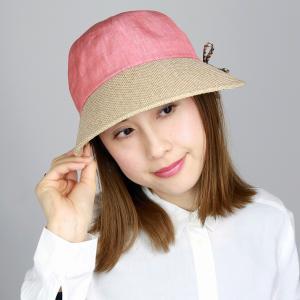 ジョッキー DAKS レディース 紫外線対策 ダックス 春夏 ツバ広 帽子 麻 シャンブレー UV キャップ かわいい 後ろゴム入り 日よけ オレンジ ピンク系|elehelm-hatstore
