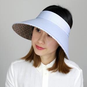 クルクルバイザー DAKS 広つば 先染 ドット柄 ジャガード レディース 日除け サンバイザー UV フリーサイズ  ダックス 日よけ 帽子 日本製 春夏 青 ブルー|elehelm-hatstore