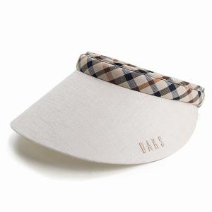 サンバイザー レディース UV DAKS ダックス 手洗い可能 チェック 日本製 バイザー 日除け 女性 プレゼント 旅行 春夏 ベージュ elehelm-hatstore