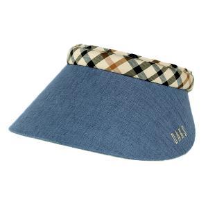 サンバイザー レディース UV DAKS ダックス 手洗い可能 チェック 日本製 バイザー 日除け 女性 プレゼント 旅行 春夏 ネイビー elehelm-hatstore