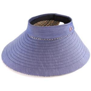 チェック 日本製 バイザー 婦人 日よけ 女性 サンバイザー レディース UV DAKS ダックス プレゼント 旅行 春夏/ネイビー|elehelm-hatstore