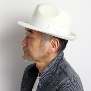SCALA ハット メンズ ウールフェルト 秋冬 スカラハット 帽子 中折れ帽 白 アイボリー|elehelm-hatstore