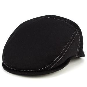 ハンチング 秋冬 メンズ 帽子 ダレーナ イタリア カシミア混紡フランネル 黒 ブラック elehelm-hatstore