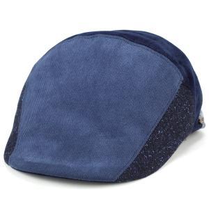 アイビーキャップ メンズ ハンチング 帽子 秋 冬 パッチワーク dalena 青 ブルー系 elehelm-hatstore