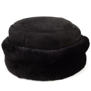 ロシア帽 ムートン 防寒 コサック帽 秋冬帽子 お洒落 dalena ダレーナ 本革 毛皮 黒 ブラック elehelm-hatstore