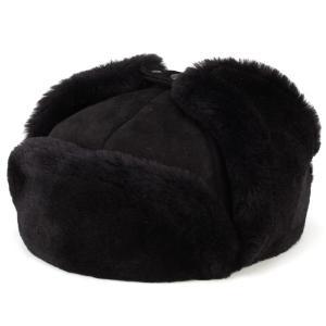ロシア帽 ウシャンカ ムートン 本革 ダレーナ dalena 防寒 飛行帽 イヤーマフ 暖かい帽子 黒 ブラック elehelm-hatstore