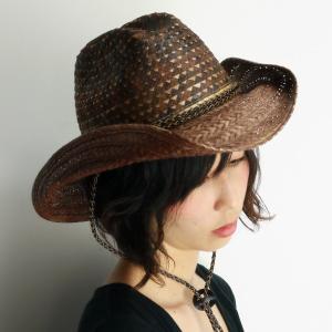 ウエスタンハット レディース ハット メンズ ミックスブレード 幾何学模様 scala ひも付き スカラ 帽子 茶 チョコレートブラウン|elehelm-hatstore