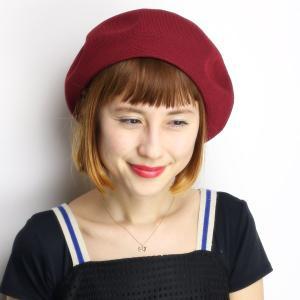 ベレー帽 春 夏 帽子 レディース 大きめゆったりシルエット サマーニット 通気性抜群 日本製 エンジ|elehelm-hatstore