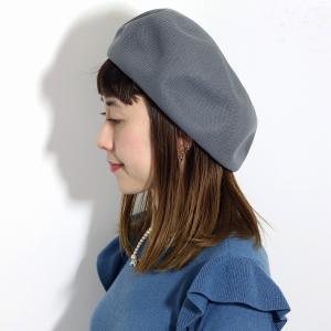 ベレー レディース 春 夏 サマーニット 帽子 大きめゆったりシルエット 通気性抜群 日本製 チャコールグレー|elehelm-hatstore