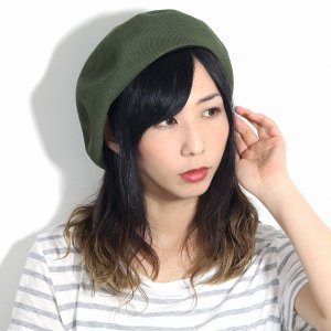 帽子 ベレー レディース 夏 サマーニット 帽子 春 大きめゆったりシルエット 通気性抜群 日本製 カーキ|elehelm-hatstore